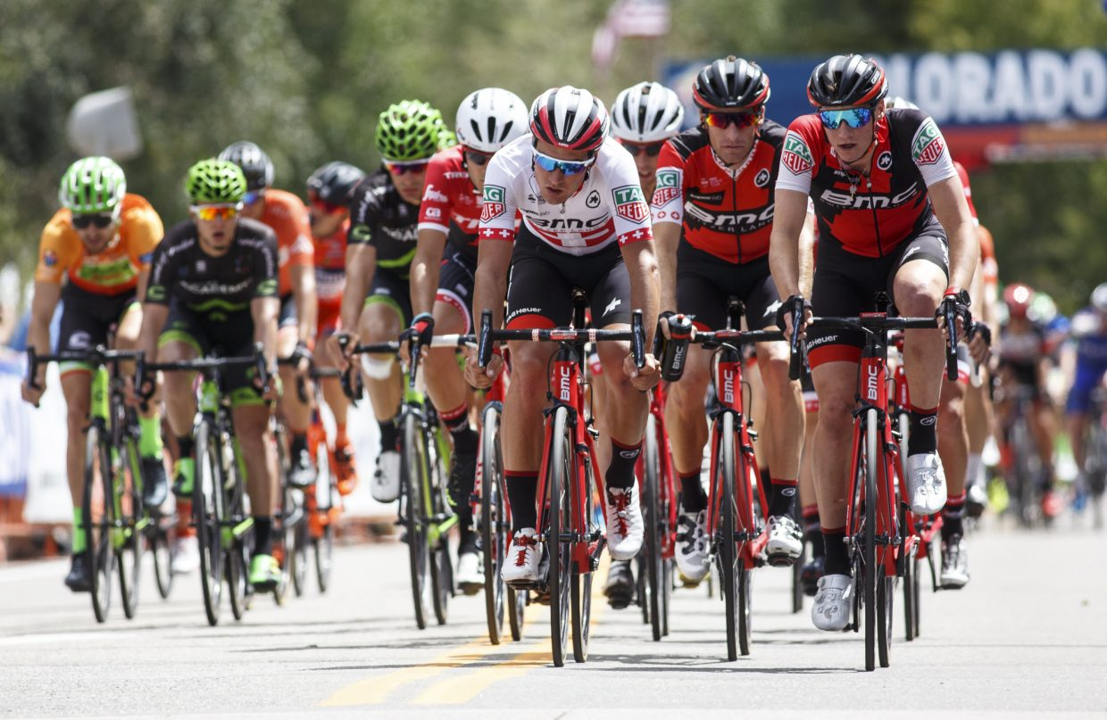 Road cyclists compete head-to-head in the Colorado Classic's Stage 2 race through Breckenridge's Main Street Friday, Aug. 11.
