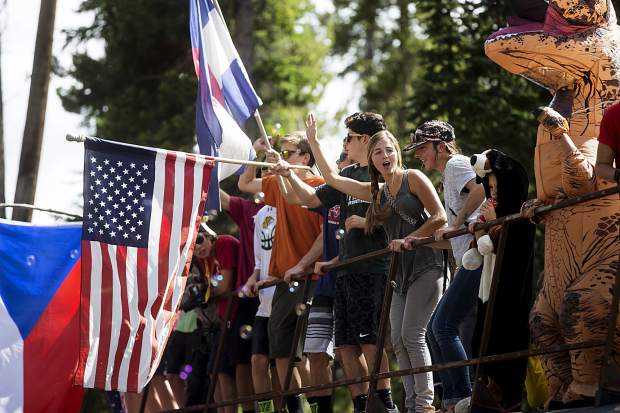 Spectators cheer on during the Colorado Classic's Stage 2 race on Boreas Pass Road Friday, Aug. 11 in Breckenridge.