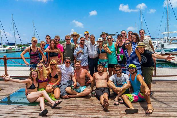 A large group of Americans, many of which hail Summit County and Vail, helped set a new mark for sailing the route from Cienfuegos, Cuba, to the islands of Cayo Guano and Cayo Largo del Sur. Here, they all pose with a local harbor master at center.