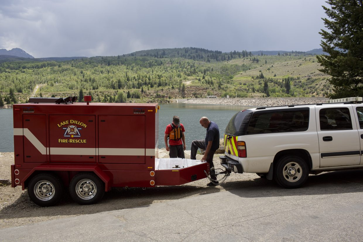 Lake Dillon Fire-Rescue wrap up their equipment at the Green Mountain Reservoir following a body recovery Wednesday, Aug. 2, near Heeney.
