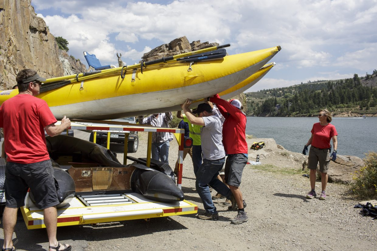Summit County Water Rescue Group workers put away the cataraft used to locate the body at the Green Mountain Reservoir Wednesday, Aug. 2, near Heeney.