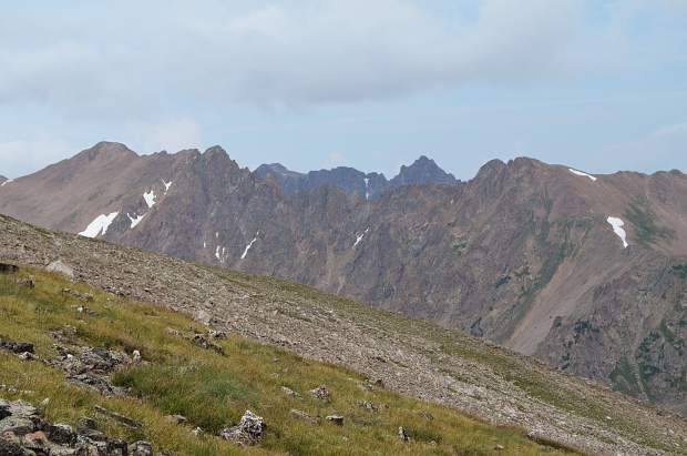 Looking towards the north at the Gore Range from the ascent of Buffalo Mountain. Red Peak and other prominent peaks in the Gore Range can be seen from the top of Buffalo.