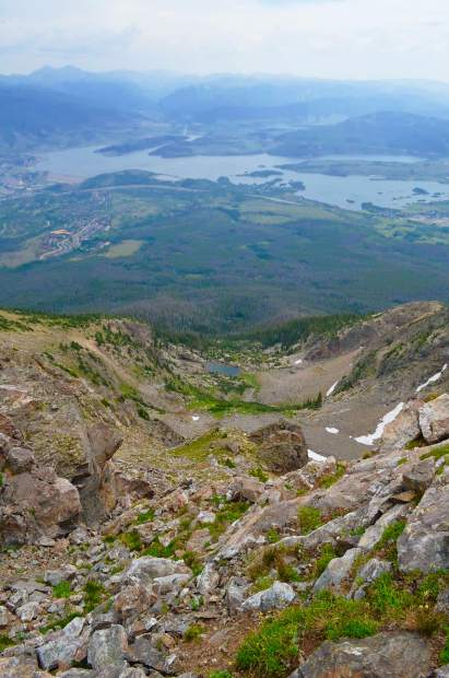 Looking down a craggy chute from the summit of Buffalo Mountain towards a high alpine lake: a hidden gem only seen from the mountaintop.