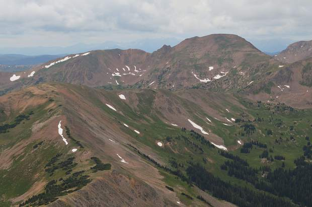 Looking from the top of Buffalo Mountain towards Red Peak, a prominent 13er in the Gore Range and the ridgeline that Eccles Pass takes hikers up and over.