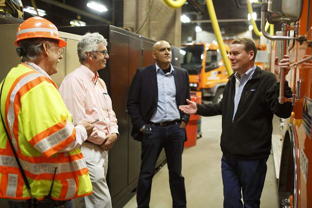 Sen. Michael Bennet, right, tours the Eisenhower Tunnel with CDOT leaders and members of the I-70 coalition Wednesday, Aug. 23, on Loveland Pass.