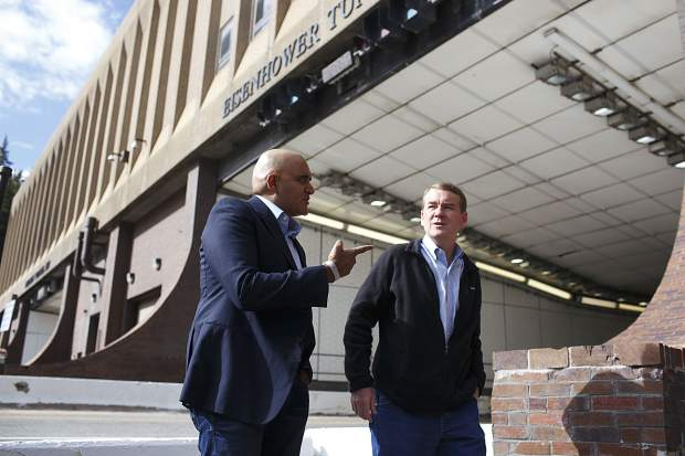 Sen. Michael Bennet, right, tours the Eisenhower Tunnel with CDOT Executive Director Shailen Bhatt, left, Wednesday, Aug. 23, on Loveland Pass, in part of the senator's visit to Colorado communities about maintaining the state's infrastructure.
