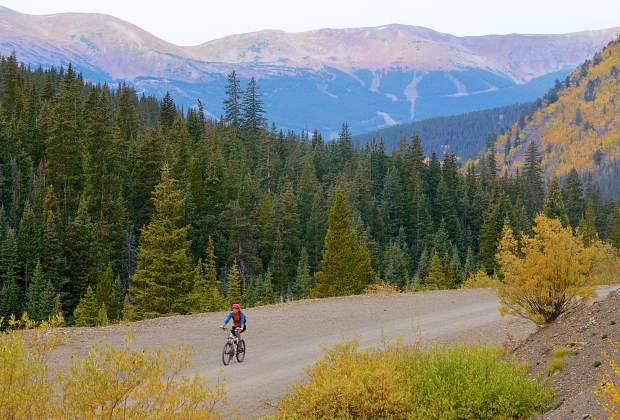 French Gulch Road with views of Breckenridge Resort in the background.