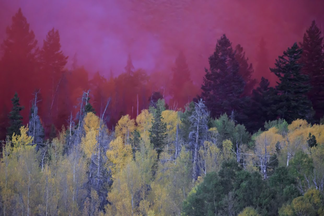 Red slurry in mix of a wildland fire along Tenderfoot Trail Monday, Sept. 18, in Dillon.