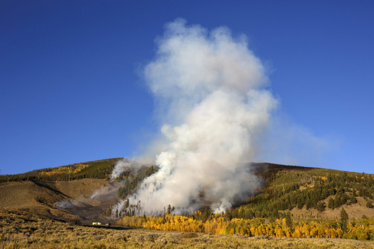 A wildland fire along Tenderfoot Trail Road Monday, Sept. 18, in Dillon.