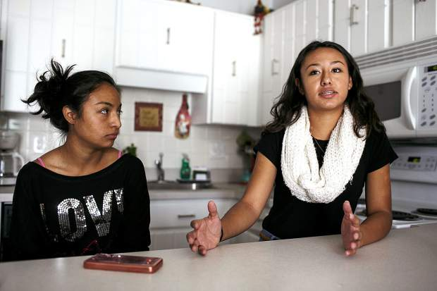 Ingrid Gaspar speaks during an interview at her home as her sister, Ivana, left, listens Thursday, Sept. 7, in Dillon.