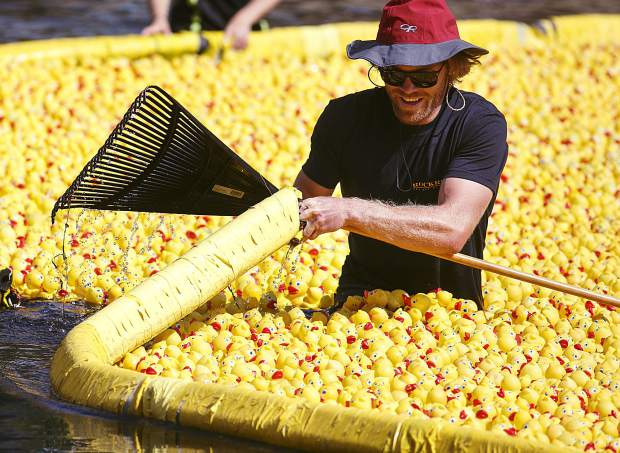 A rubber duck race official releases the ducks onto the Blue River Saturday, Sept. 2, in Breckenridge.