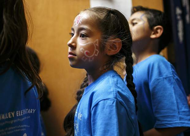 Dillon Valley Elementary first-grader Maya Flores dons face paint in the spirit of the