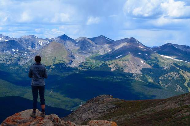 The author standing at the summit of Bald Mountain, a 13,000 foot mountain outside of Breckenridge. Plentiful views of the Tenmile Range can be seen from Bald's summit.