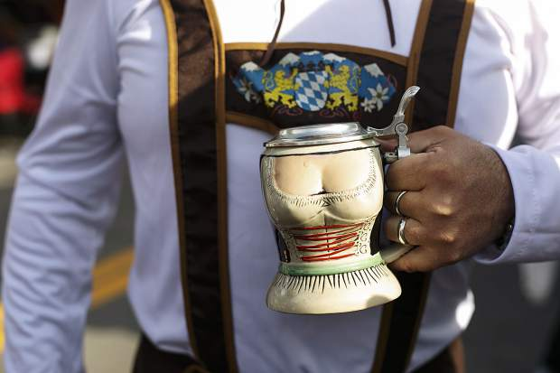 A stein belonging to Jeff, of Dallas, Texas, during the Breckenridge Oktoberfest event Friday, in Breckenridge.