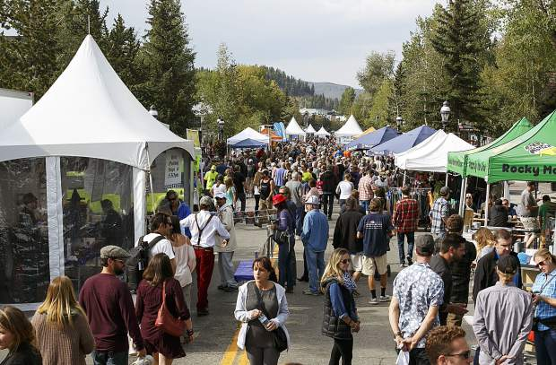 Crowds fill Main Street during the Breckenridge Oktoberfest event Friday.