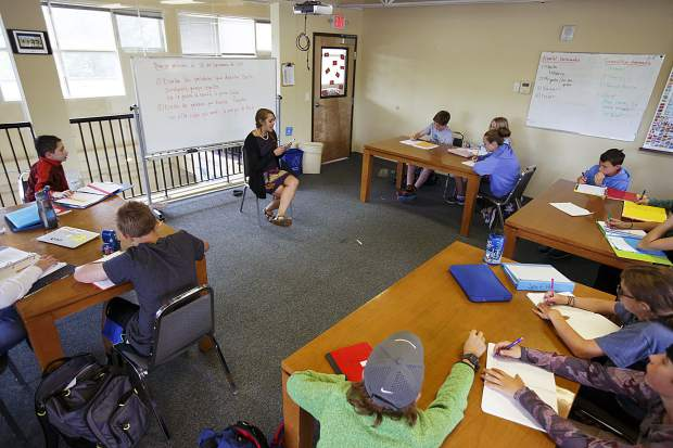 Students at The Peak School in Frisco attend a Spanish class led by teacher Monica Mills on Wednesday morning, Sept. 13.