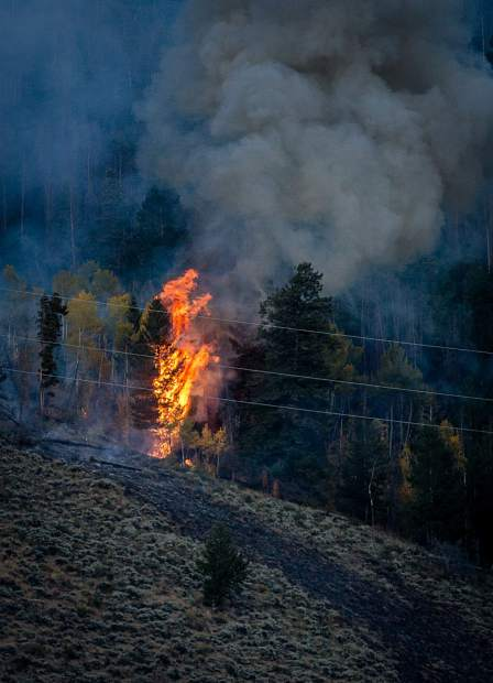 Fire near Tenderfoot Trail Road Monday evening.