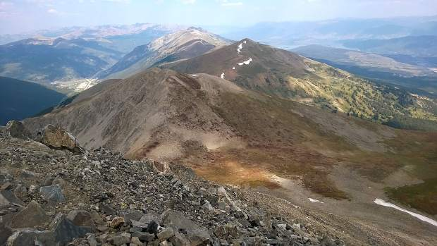 View from summit of Peak 10 with Copper Mountain on the left and Dillon Reservoir on the right.