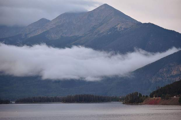 Cloudy day for the Ten Mile Range from Lake Dillon.