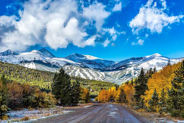 The view looking down Boreas Pass Road on the Breckenridge side.