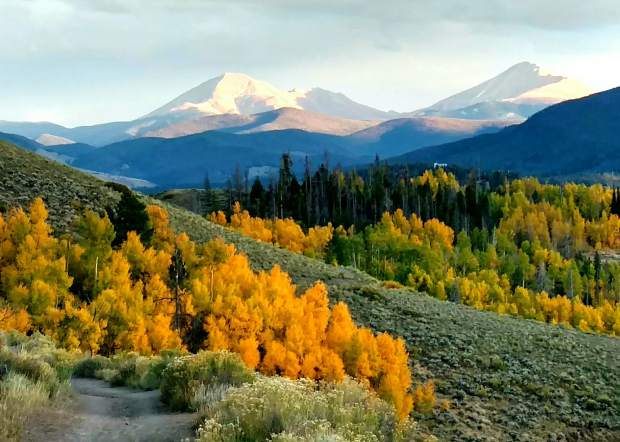 Fall on the Oro Grande Trail with Mt, Guyot and Mt. Baldy in view.
