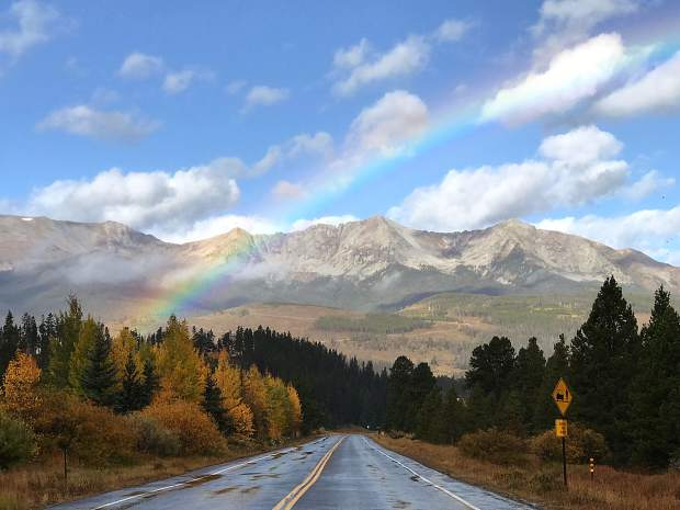 Rainbow on Tiger Road in Breckenridge following a morning rain shower.