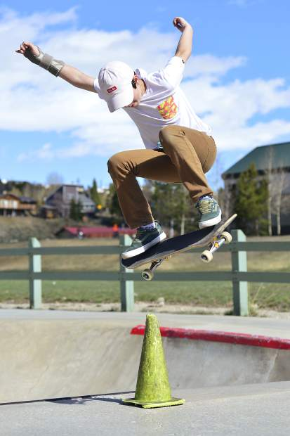 Evan Walsh, 11, of Frisco easily clears a road cone Wednesday at the skatepark in Silverthorne.