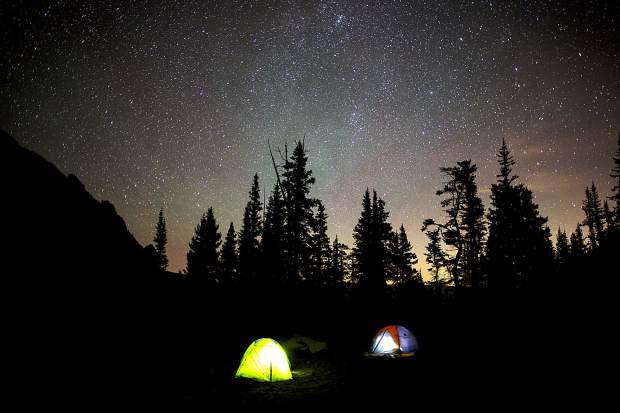 Tents under the stars in the Eagles Nest Wilderness Saturday night.