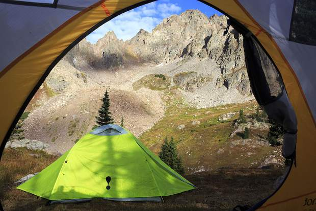 Tent site near upper Willow Lake.