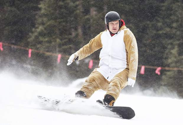 A snowboarder in costume Saturday at Arapahoe Basin Ski Area.