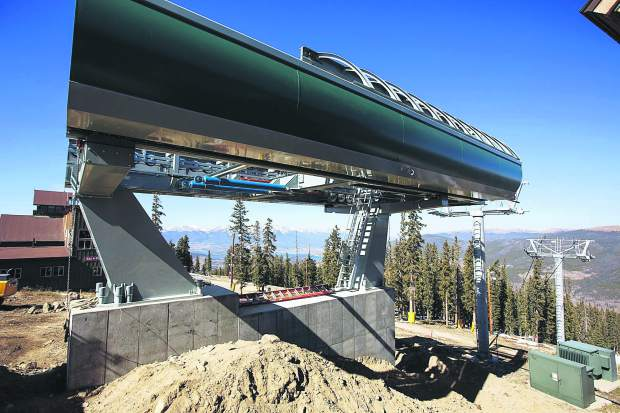 Top terminal of Montezuma Express Lift Friday, Oct. 13, on Dercum Mountain at Keystone Ski Resort.