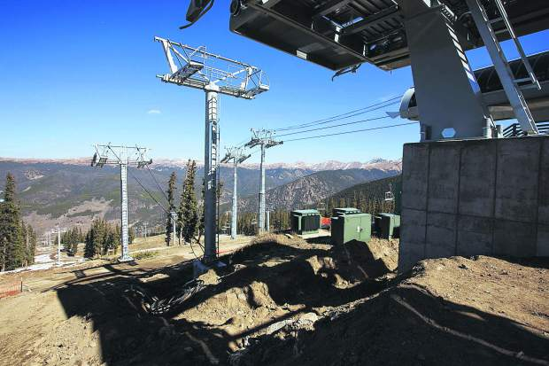 Brand new support towers leading between the Montezuma Express Lift terminals Friday, Oct. 13, on Dercum Mountain at Keystone Ski Resort.