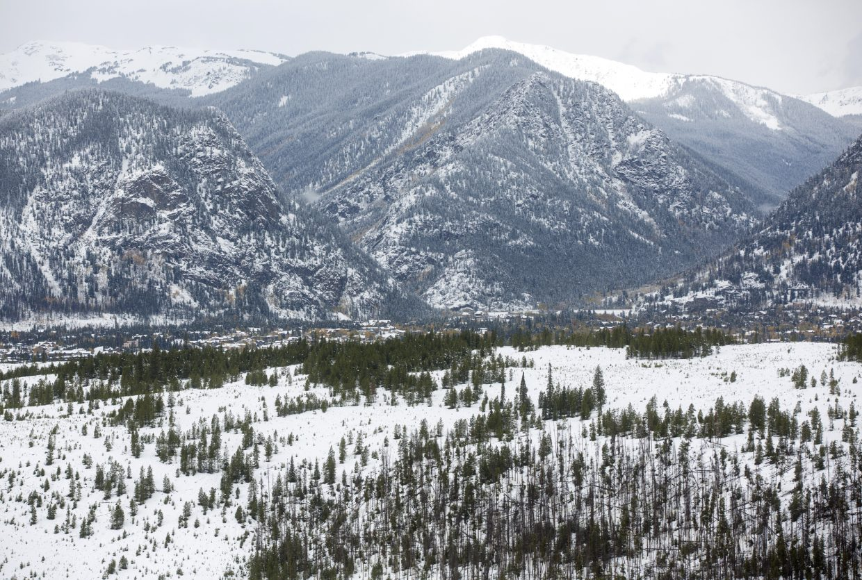 Snow blankets the landscape near Frisco Monday, Oct. 2,.