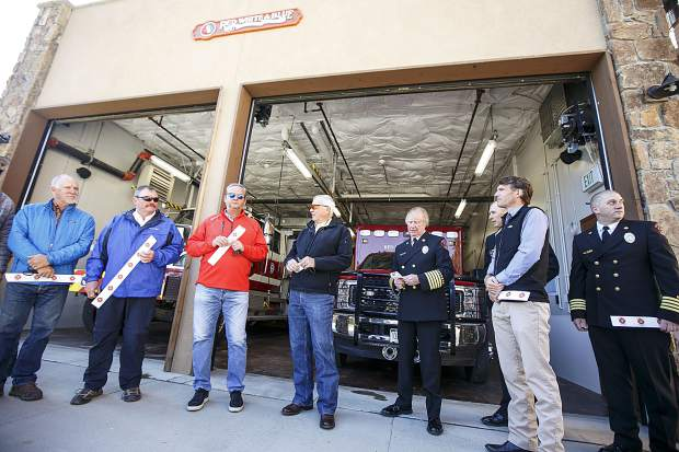 Red, White and Blue Fire officials in front of the new Station 5 Saturday in Breckenridge.