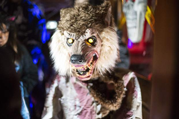 A motorized wolf character inside the Butterhorn Bakery Tuesday, Oct. 31, in Frisco.