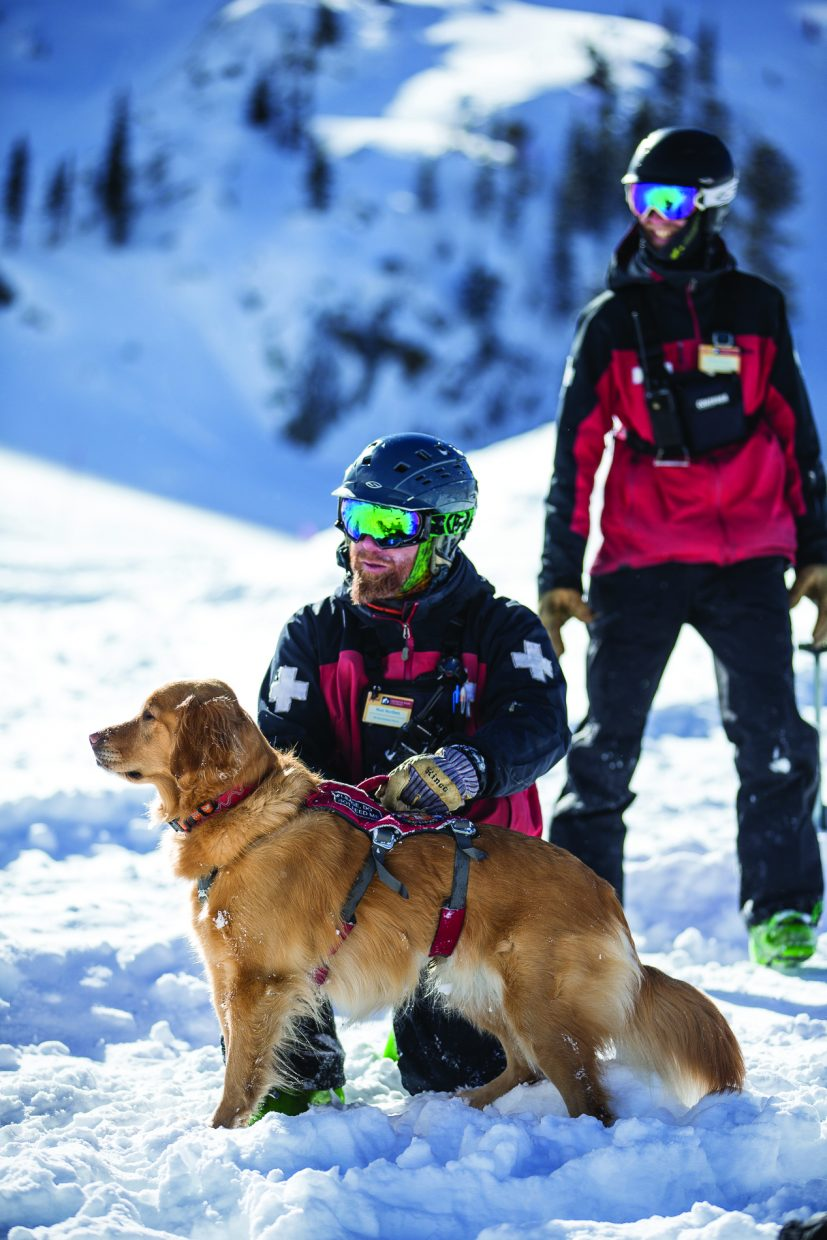 Rio stands with assistant Ski Patrol director Matt Norfleet