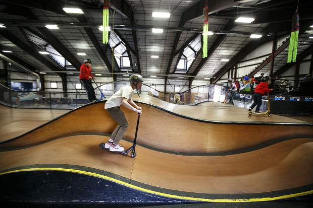 A young scooter rider inside the Woodward Copper during the Barn Bash event Saturday, Nov. 11, in Copper.