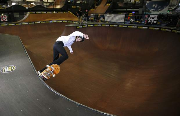 Collin Hyon skates the bowl inside the Woodward Copper during the Barn Bash event Saturday, Nov. 11, in Copper.