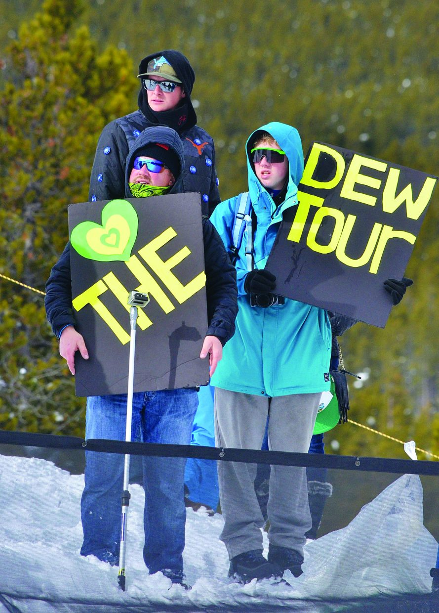 Fans cheer on the slopestyle competitors at 2016 Dew Tour in Breckenridge. The 2017event from Dec. 14-17 will serve as an Olympic qualifier for the 2018 Winter Olympics in PyeongChang, South Korea from Feb. 9-25.