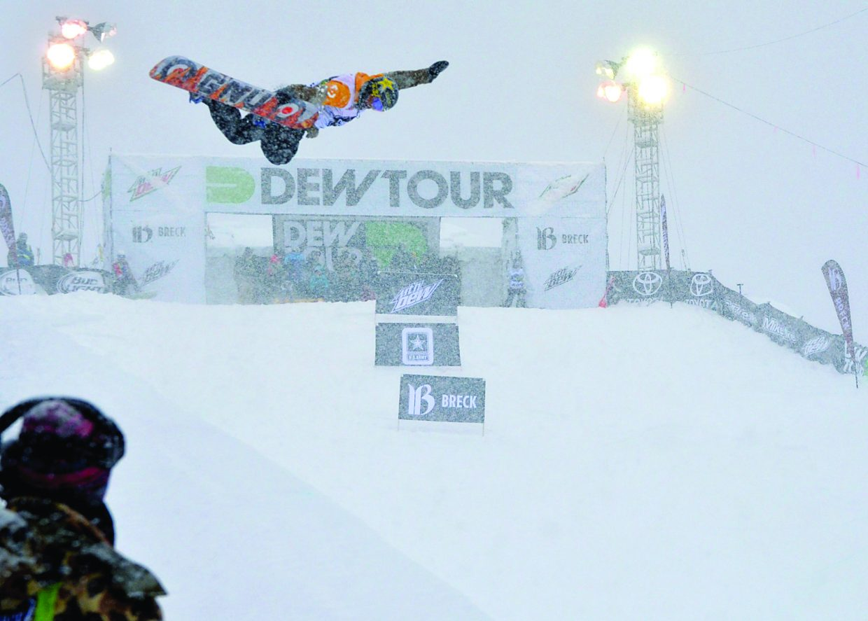Breckenridge team rider Brett Esser tweaks a method through the squall during practice before the men's Dew Tour halfpipe final on Dec. 12. Esser took fifth overall, his best finish at the Dew Tour.