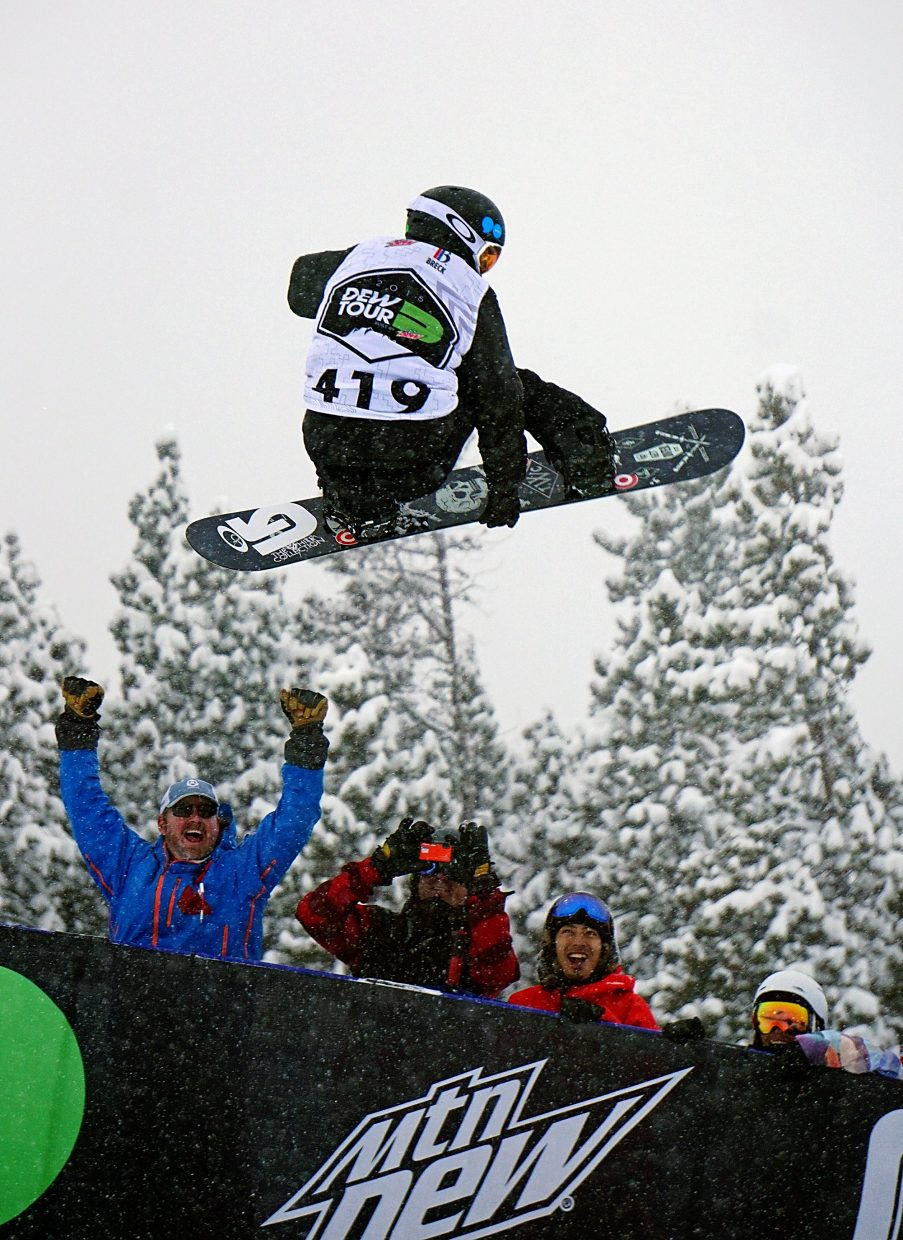 Shaun White airs out of the pipe on his winning run during the Dew Tour men's snowboard superpipe competition at Breckenridge Ski Resort in 2015.