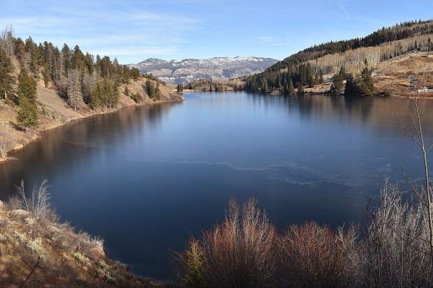 Lower Cataract Lake earns its name on the afternoon of Nov. 25 as the water body's ice-in line is clearly distinct as seen from the loop trail's western shore.