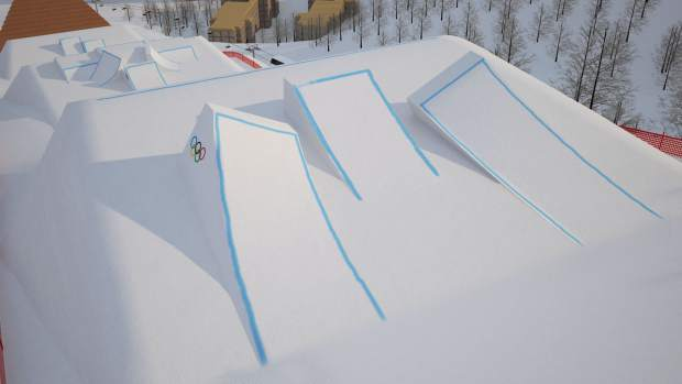 Section four of the Olympic Slopestyle Course to be used in February's 2018 Pyeongchang Winter Olympic Games at Bokwang Phoenix Park Ski Resort.