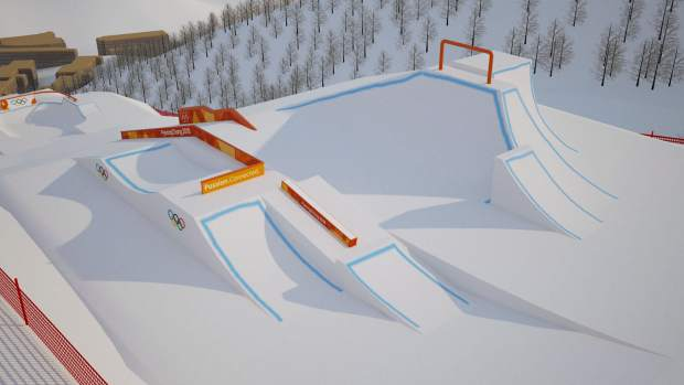 Section two of the Olympic Slopestyle Course to be used in February's 2018 Pyeongchang Winter Olympic Games at Bokwang Phoenix Park Ski Resort.