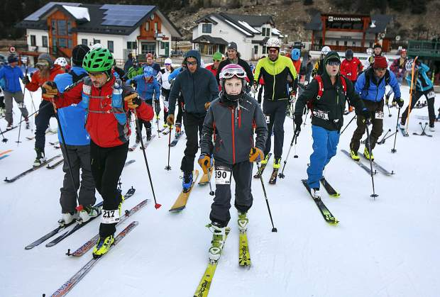 Participants, young and old, take off for the uphill challenge in the