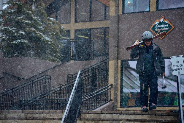 Snow falls Saturday morning at Loveland Ski Area, just west of the Eisenhower Tunnel. A customer-service representative estimated they had received as much as 3 inches of fresh snow by 2:30 p.m.