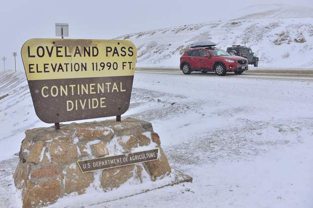 The Colorado Department of Transportation put into effect and later lifted traction-law requirements along U.S. 6 at the Loveland Pass after a snowstorm moved into the Rocky Mountains on Saturday. According to CDOT, those restrictions could be reinstated if conditions worsen.