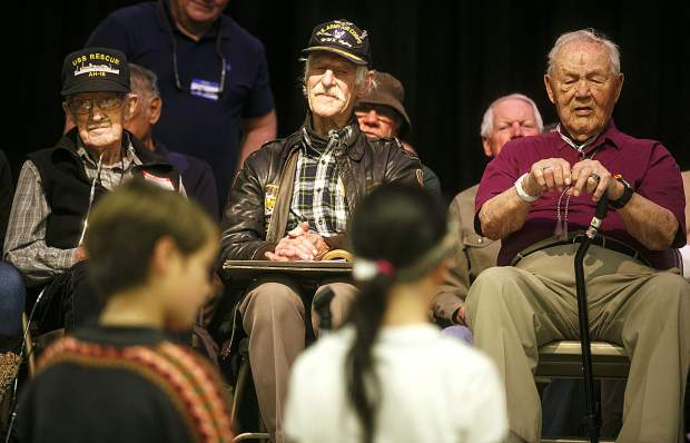 U.S World War Two veterans from left to right, Jack Cowger, Navy, Stuart