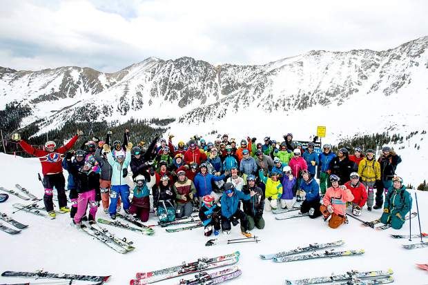 The 35 two-person teams at the 2015 Arapahoe Basin Enduro celebrate at the top of Pallavicini Chair around 5 p.m. after 10 straight hours of skiing the area's gnarliest terrain. The Enduro takes teams for endless runs on black and double-black terrain like Pali Face and The Spine.