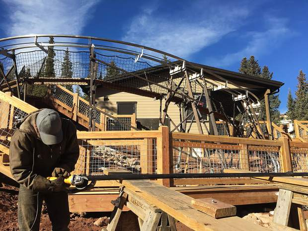 Jose Velasquez of Fort Morgan-based Construction Velasquez works on the new Rocky Mountain Coaster that Copper Mountain began construction on last April and opened earlier this month.